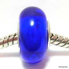 BLUE WITH BUBBLES Silver Plated Murano Glass European Bracelet Charm Bead