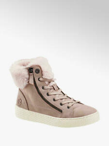 Bugatti ankle boots EU 36 new with box pink fur round toe zip boots sneakers