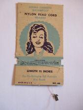 "Vintage Nylon Bead Cord - No. 400 - 72"" Great Graphics"