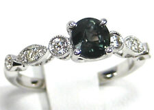 Green Sapphire Ring Pave Halo 14K white gold Untreated natural Tanzania $2,476