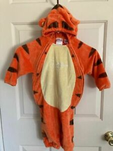 Disney Tigger Costume Infant Baby Size12-18 Months Hood 2 Front Zippers Soft EUC