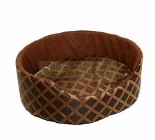 ROUND WASHABLE PET DOG PUPPY CAT BED CUSHION SOFT WARM BASKET BROWN LARGE