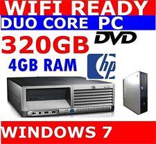 HP WIRELESS DUO CORE 4GB RAM 320GB HDD DESKTOP COMPUTER PC WINDOWS 7