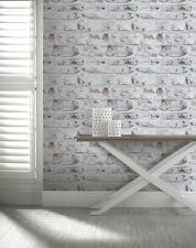Brique Effet Papier Peint Marron Blanc Ancien Vieilli Rustique chaulés Arthouse