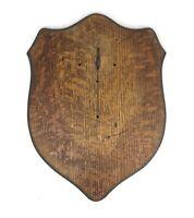 Vintage Oak Wood Wall Plaque Back Board Shield Shaped