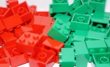 LEGO 40 x MIX COLOUR -  RED AND GREEN BRICKS 2 x 2 3003 ( CITY, FRIENDS, ELVES)