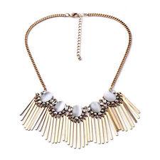 Vintage Tassel Collar Choker Crystal Mystic Opal Fringe Bib Statement Necklace