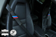 2x Para BMW M rayas Negro Cuero Amarillo Stitch Lujo hombro del cinturón de almohadillas