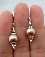 Smooth Champagne South Sea Shell Pearl Sterling Silver Earrings
