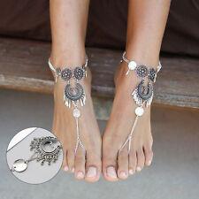 Beauty Women Girls Vintage Coin Barefoot Beach Sandals Bohemian Anklet Chain