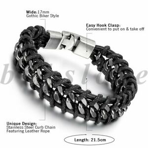 Woven Braided Leather Bracelet Magnetic Cuff Bangle Wristband Mens Jewelry Gift