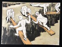 Thomas Bernstein, Über Schluchten, Farblithographie, 1991, handsigniert