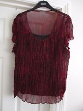 Marks & Spencer Plus Size 24 black camisole top & red/black chiffon overlay top