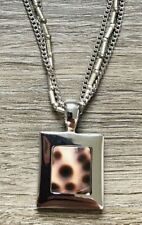 NWT Cookie Lee Necklace Genuine Tiger Shell Silvertone Square 3 Chain Vacation