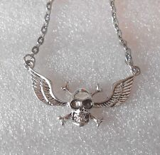 Unisex Winged Skull Necklace - Rock Chick - Goth - Biker