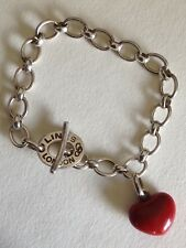 Vintage Solid Silver Links of London Tbar with red heart charm bracelet