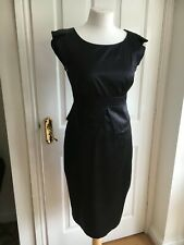 KAREN MILLEN Black Silk Pencil Wiggle Sexy Dress Cap Sleeve ChristmasParty UK 10
