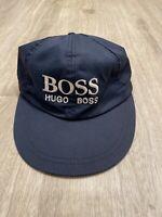 Boss Hugo Boss Vintage Hat Strapback VTG 90s Navy Blue with Leather Strap Cap