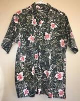 Reyn Spooner VTG Men's XL Black Floral Reverse Print Aloha Hawaiian Shirt EUC