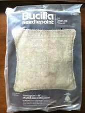 "Bucilla Needlepoint The Complete Pillow Kit Monogram 14"" New"