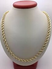 "New 10K Yellow Gold Hollow 24"" Diamond Cut Rope Twist Chain Necklace 9.1 g, 5 mm"