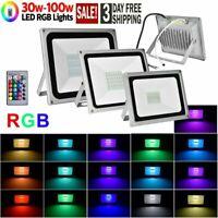 LED RGB Flood Light 30W 50W 100W Outdoor Landscape Color Chang W/Remote Control