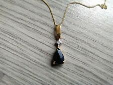 Vintage 9ct Gold Black Sapphire and Diamond Pendant Necklace With Chain