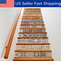 13 Pcs 3D PVC Staircase Self-Adhesive Stairs Risers Stickers Mural Decal  y