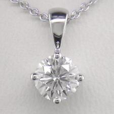 0.50ct Diamond Solitaire & Platinum Pendant Certified D IF Exc Brilliant & Chain