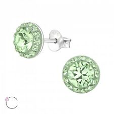 Sterling Silver 925 Green Sparkly Crystal Round Halo Style Stud Earrings