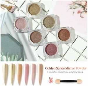 MIRROR POWDER Gold chrome effect Pigment NAILS New Rose Gold Silver Nail Art