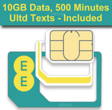 Official EE UK 4G Pay As You Go Multi Sim Card Preloaded With 10GB Data,500 Mins