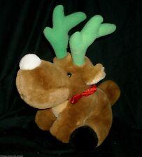"12"" VINTAGE CHRISTMAS BROWN MOOSE REINDEER SILVESTRI STUFFED ANIMAL PLUSH TOY"
