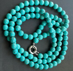 "8mm Blue howlite turquoise Necklace Gemstone Bead Knotted 18""24"" 36"" 48"" Lariat"