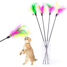Playing Interactive 5 Pcs Cat Toys Soft Colorful Feather Teaser Bell Wand Kitten