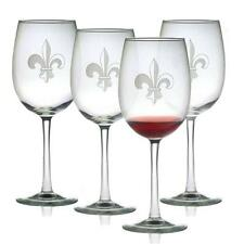 Wine Glasses Fleur de Lis Design Set of 4 Hand Etched