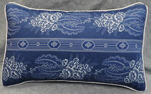 White Corded Pillow made w Ralph Lauren Biarritz Floral Navy Blue Fabric 20x12