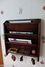 Mail Letter Rack Handcrafted Wood Organizer Key Holder Wall or Desk Red Mahogany