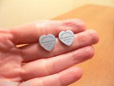 Tiffany & Co Return to Tiffany Silver Medium Med Heart Earrings Studs Rare