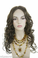 Light Chestnut Brown Brunette Long Monofilament Wavy Straight Wigs