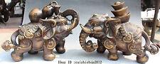 China Bronze Folk Animal Wealth Yuanbao Ru Yi Gourd Afrika Elephant Statue Pair