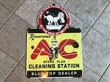 Old porcelain look large AC spark plug cleaning dealer sign donkey blue top NICE