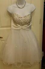 Cindy USA White & Silver Beaded/Sequined Prom Dress Wedding Sz Medium Strapless