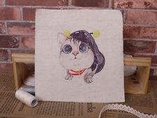 Mini Cotton Linen Craft Fabric Panel British shorthair Blue Cat in Hat Craft A
