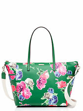 NWT KATE SPADE New York Grant Street Adaira Green W/Flowers Baby Diaper Bag $398