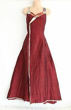Hand Made Deep Red Maroon Maxi Fitted Japanese Theater Prom Ladies Dress Sz M L