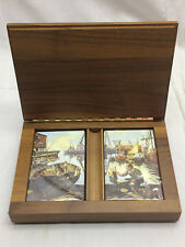 Vintage Nautical Scene Playing Card Deck Set sealed Decks w/ Wooden Carved Box