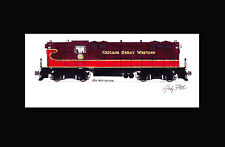 """Chicago Great Western GP7 11""""x17"""" Matted Print by Andy Fletcher signed"""