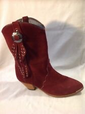Ladies Maroon Mid Calf Suede Boots Size 7