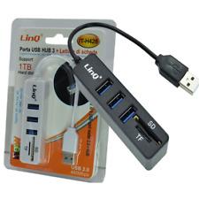 Hub Usb 3 Porte + Lettore Schede Sd Microsd Tf Car Reader Linq It-H428